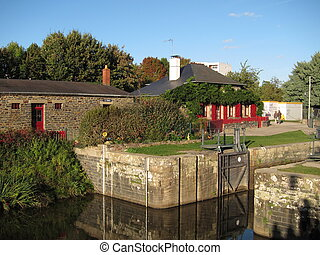 France,Brittany, sluice on Vilaine