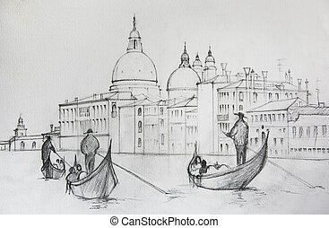 Painting of Venice Italy, painted by pencil