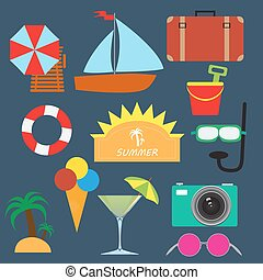 summer icons - vector set of summer related icons