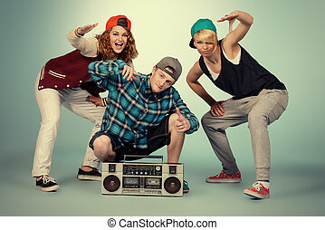 break dancer - Group of young modern dancers dancing...
