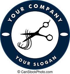 tijeras, corte, pelo, hebra, pelo, Solon, logotipo