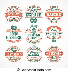 Set Easter Holiday typography. Vector illustration