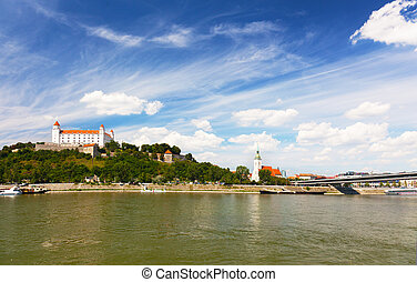 Bratislava Castle on the hill over the Danube River in the...