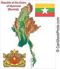 Burma Myanmar map flag coat - Burma Myanmar map aerial view