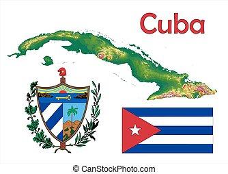 Cuba map flag coat - Cuba map aerial view