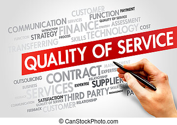 Quality of Service related items words cloud, business...