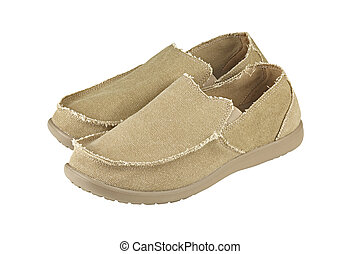 mens loafers  - Modern mens  shoes over white background