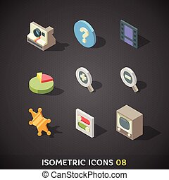 Flat Isometric Icons Set 8