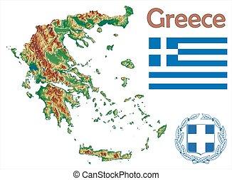 Greece map flag coat