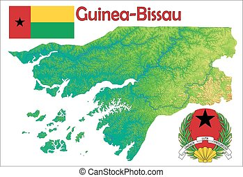 Guinea Bissau map flag coat - Guinea Bissau map aerial view