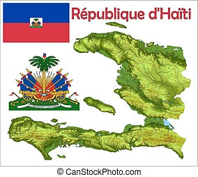 Haiti map flag coat