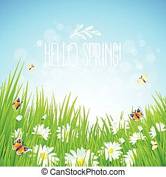 Fresh spring background with dandelions and daisies - Fresh...