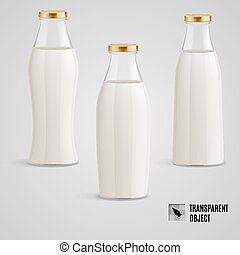 Milk bottle - Set of closed glass bottles of milk on a gray...