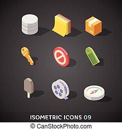 Flat Isometric Icons Set 9