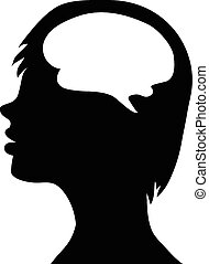 silhouette of the head and  brain. process of human thinking. The concept of intelligence. People communication with the outside world. Vector eps10.
