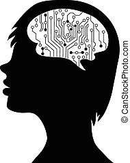 Technological brains . Vector eps10.silhouette of the head and  brain. process of human thinking. The concept of intelligence. People communication with the outside world.