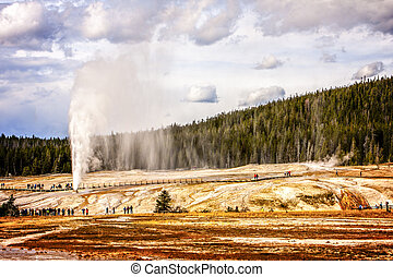 Yellowstone National Park - Geyser Eruption at Yellowstone...
