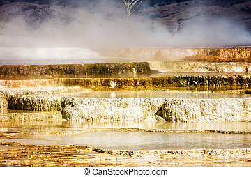 Yellowstone National Park - Steaming Falls in Yellowstone...