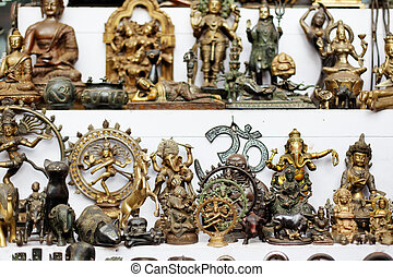 Statues - Small bronze sculptures at goan fleamarket, Goa,...