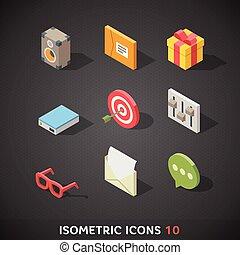 Flat Isometric Icons Set 10