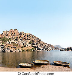 Hampi - Landscape of Hampi rocks and Tungabhadra River