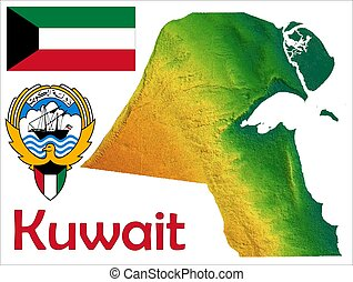Kuwait map flag coat - Kuwait map aerial view