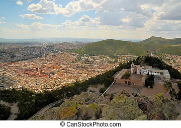 Aerial view of Zacatecas, colorful colonial town, Mexico -...