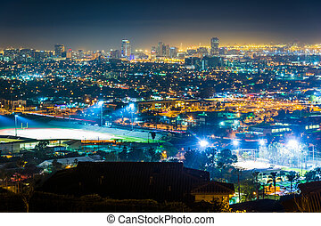 View of the Long Beach skyline at night, from Hilltop Park,...