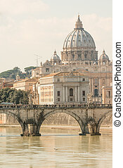 Vatican view and Ponte Sant'Angelo across Tiber in Rome