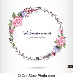 Watercolor wreath with flowers,foliage and branch.Vector...