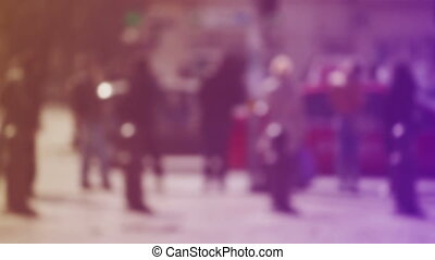 Crowd of People Walking the Street