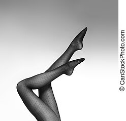 Black and white photo of the beautiful legs in nice...