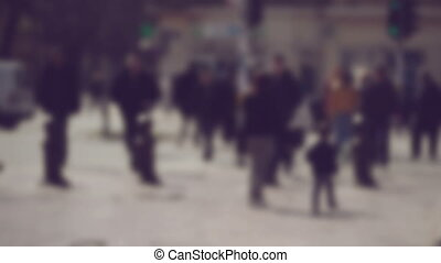 Crowd of People Walking the Street - Blur Crowd of People...