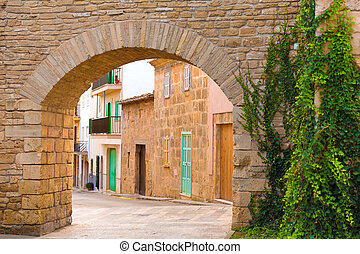 Alcudia Old Town fortress wall in Majorca Mallorca Balearic...