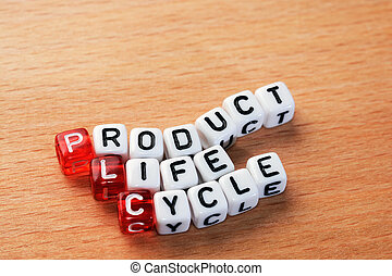 PLC ,Product Life Cycle - cubes with text PLC ,Product Life...