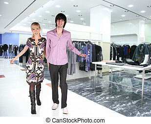 couple in Clothes boutique