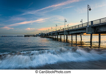 The Belmont Pier at sunset, in Long Beach, California