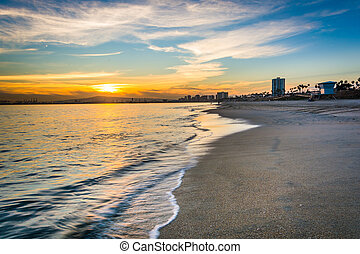 Sunset over the Pacific Ocean, in Long Beach, California