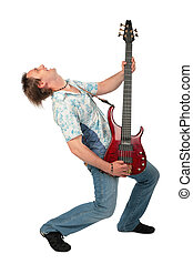 Young man with guitar dancing vergent head
