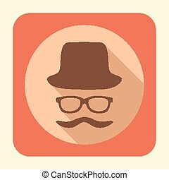 Gentleman flat icon. - Flat icon with long shadow effect in...
