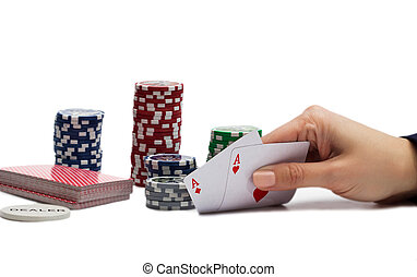 Winning Hand over the white background