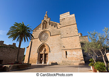 Alcudia Old Town Sant Jaume church in Majorca Mallorca...
