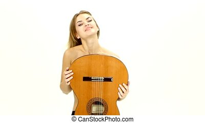 sexy young woman with guitar