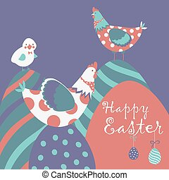 Easter chicken with easter eggs. Vector illustration