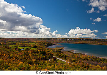 Cape Croker Lake Huron Autumn Fall Forest Trees view - Cape...