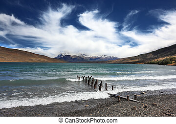 Crazy wind Patagonia - The storm on the lake. Boat dock...