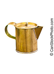 Brass pitcher isolated on white background.