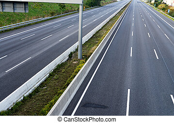 empty 8-lane highway / roadworks - empty eight-lane highway...