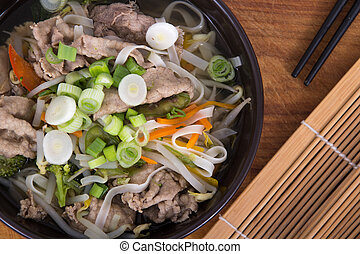 Vietnamese beef Pho soup bowl