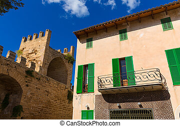 Alcudia Old Town fortres wall in Majorca Mallorca Balearic...